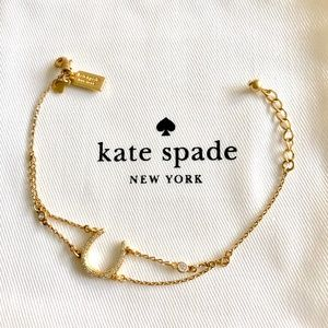 Kate Spade Gold Tone Pave Horseshoe Chain Bracelet